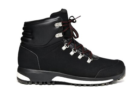 Winter sport black shoes boot isolater on white background
