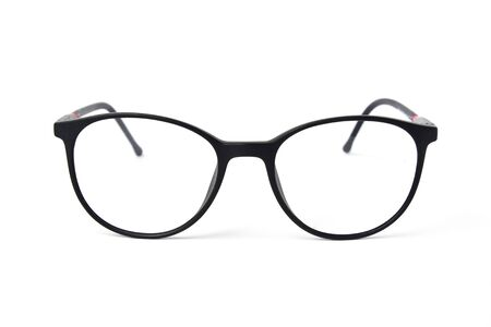 Fashion black color glasses on white background