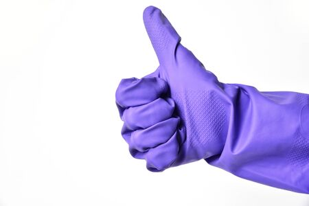Thumb up in gloves, ok simbol on white background. Great cleaner work.