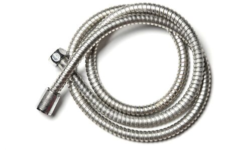 Chrome water hose pipeline for shower on white background. 写真素材