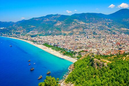 Aerial view of beautiful coast landscape. Klepatra Beach in Alanya, Turkey.