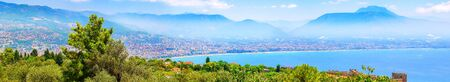 Panorama aerial view of the sea coast landscape of city Alanya, Turkey  写真素材