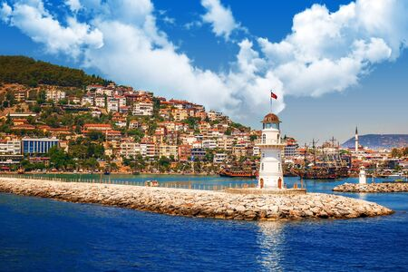 Alanya, Turkey lighthouse on the sea shore in bay