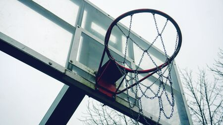 Basketball hoop with chains bottom view 写真素材