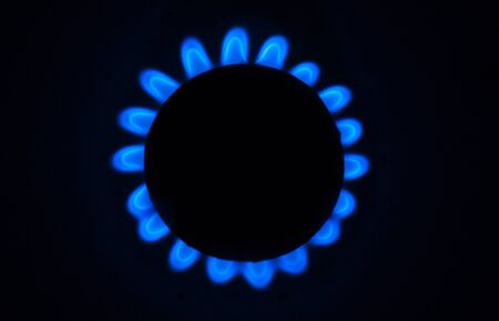 Gas burner circle on the stove close-up over head view 写真素材