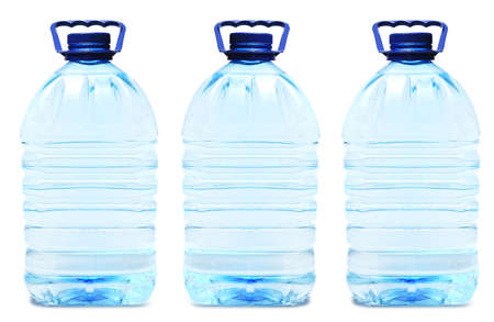 Plastic bottles with clean drink water. Water in polypropylene container on white background isolated. Reklamní fotografie