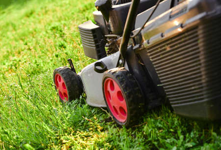 Lawnmow on the green grass. Housekeeping. Lawn care. Close up view of grass mower