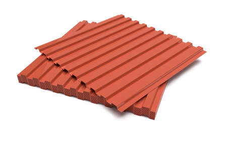 Metal sheets for roofing on a white background, 3D render. Steel profile for roof cover. Stock fotó
