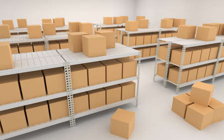Warehouse interior with shelves, racks and boxes 3d render illustration.