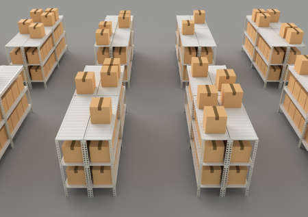 Warehouse with shelves, racks and boxes, above view 3d render illustration. Фото со стока