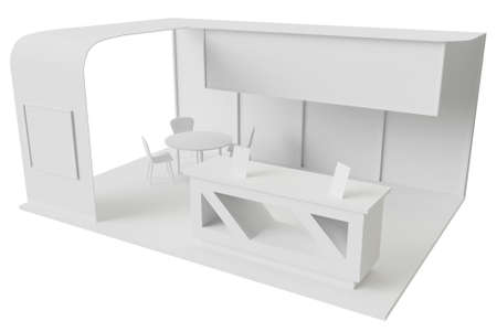 Exhibition stand for promotion with table and chair for clients and visitors 3d render illustration mock up.