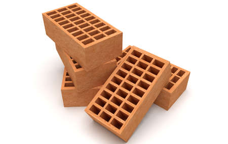 Brown bricks 3d render illustration. Silicate, hollow building brick Фото со стока