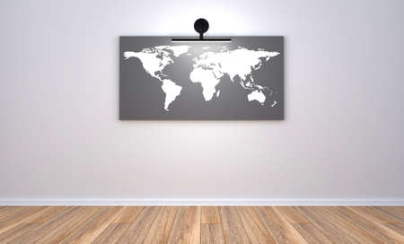 3d render illustration of the empty modern room with gray wall and wooden floor, the picture of the world map on the wall with one light point. Clean new office place with gray wall, world map and wooden floor.