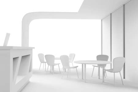 Cafe interior showroom exhibition stand 3d render with table and chairs for clients and visitors. Mock up construction of promotional store retail.