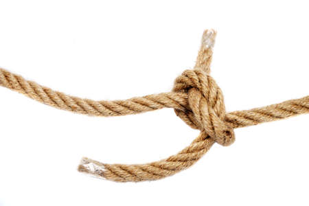 Node tied with a thick rope close up Stockfoto