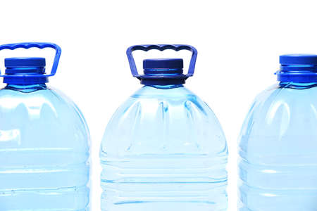 Group of plastic bottle with drink water on white background
