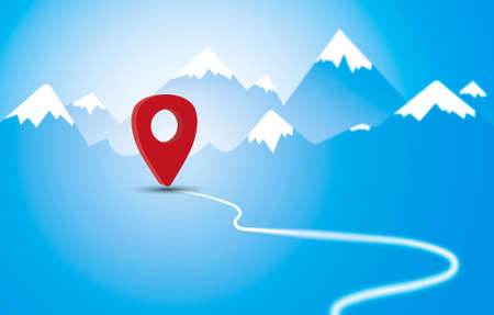 Red navigation marker on road in the mountains illustration. Planning a route in the mountains. Reaching the goal concept. Red pointer location on a mountain landscape background. Фото со стока