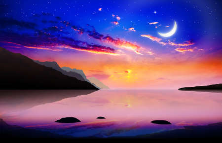 Ramadan Kareem religious background with bright crescent and stars night sky. Amazing beautiful landscape coastline, mountain in horizon and glowing clouds above serene sea.