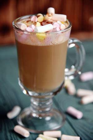 Glass cup of cappuccino over head view Фото со стока