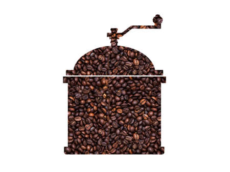 Silhouette of a coffee grinder with coffee background Фото со стока