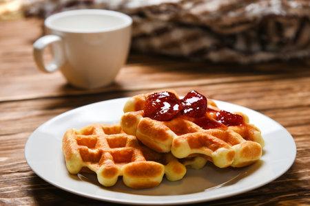Good morning american breakfast waffle delicious food