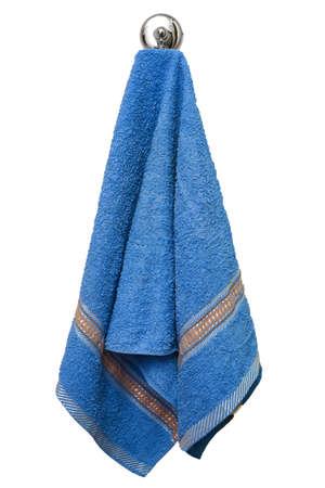 Blue towel on a hook isolated on a white background Фото со стока