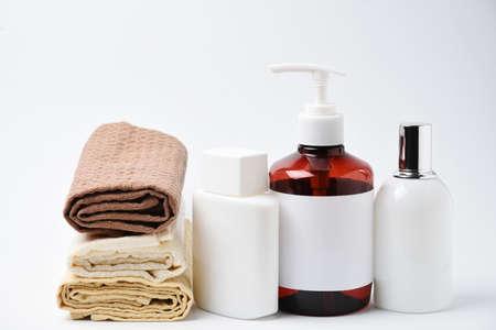 Advertising skincare eco product, flask and napkin on white background