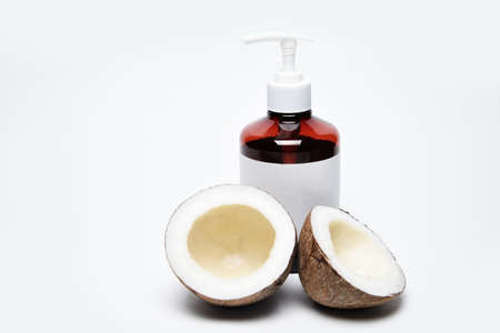 Jar and bottle with organic oil. Cosmetic medical preparations in containers on a white background