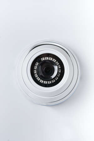 Dome round surveillance camera, access control systems isolated on white background