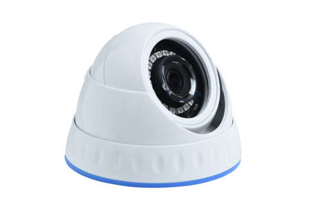 Security cctv white dome camera isolated on white background