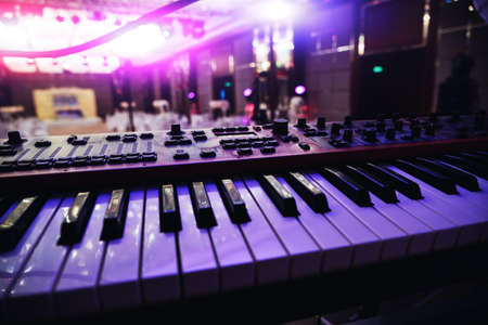 Musical instrument keys electronic piano close up view