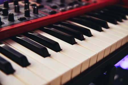 Electronic mucis piano keyboard close up view