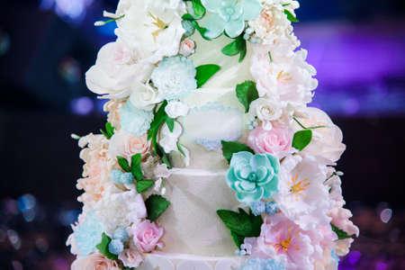 Wedding luxury delicious tasty cake with flowers