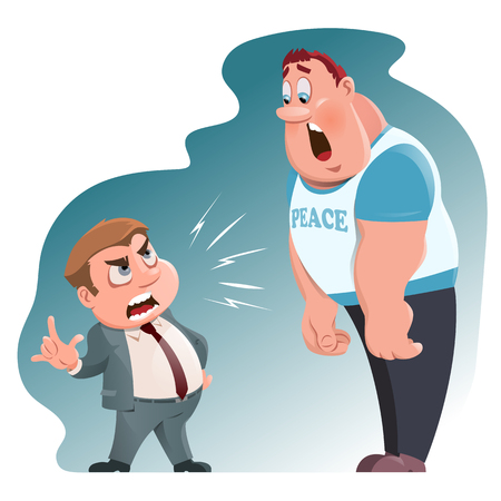 intimidation: Angry boss swears. Cartoon styled illustration. Elements is grouped and divided into layers.