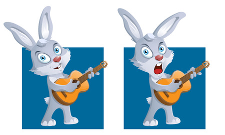 melodist: Funny rabbit playing guitar and singing a song. Cartoon styled vector illustration. Elements is grouped and divided into layers for easy edit.