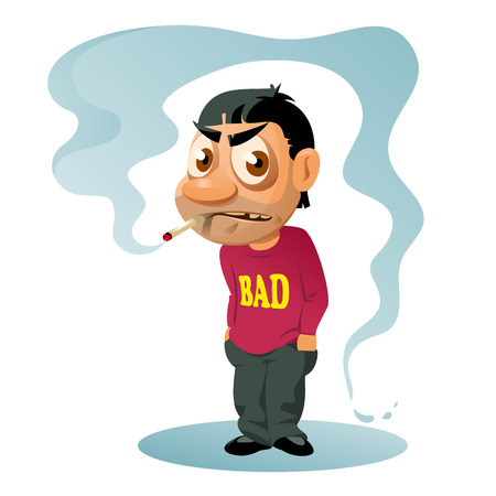unwholesome: Smoking man with a disgruntled look on his face. Cartoon styled vector illustration. Elements is grouped and divided into layers for easy edit. No transparent objects. Illustration