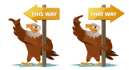 that: Eagles holds an signpost. This way and that way. Cartoon styled vector illustration. Elements is grouped for easy edit. No transparent objects