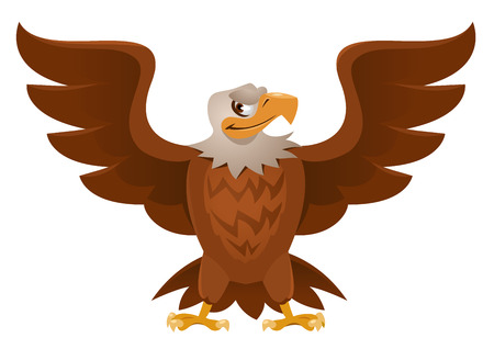 spread wings: American Eagle with open spread wings. Cartoon styled vector illustration. No transparent objects. Isolated on white.