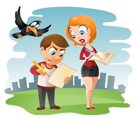 pen and paper: Man and woman fills in the form (such as  questionnaire, tax form etc). Cartoon styled vector illustration.  Elements is grouped and divided into layers. No transparent objects.