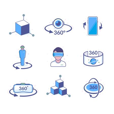 Virtual Reality Icons Иллюстрация