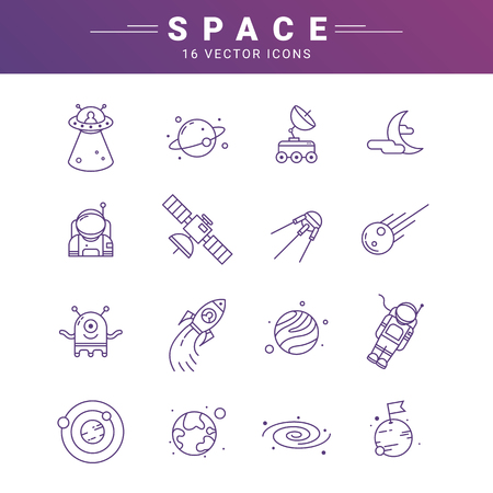 Vector line icon set for astronomy. Linear web symbol for space.
