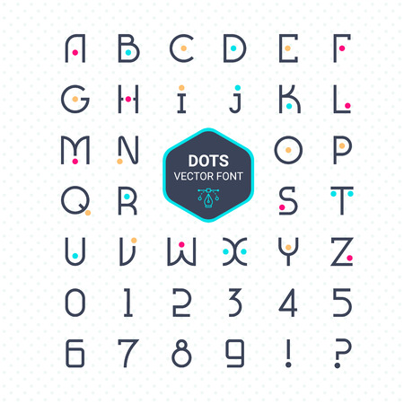 Rounded font vector alphabet with dots effect letters.