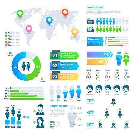 Business statistics graph, demographics population chart, people modern info-graphic vector elements.