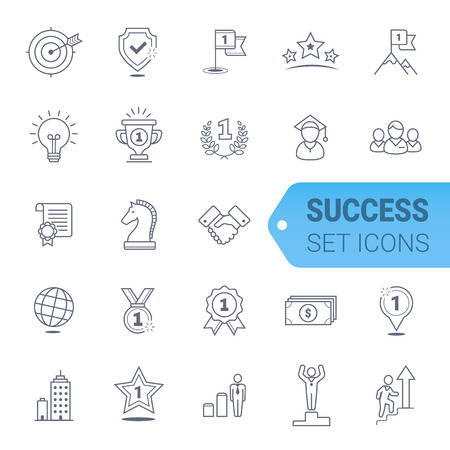 Simple Set of Winning Related Vector Line Icons. Vettoriali