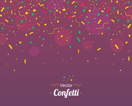 Confetti. Colorful confetti pieces. Violet vector background
