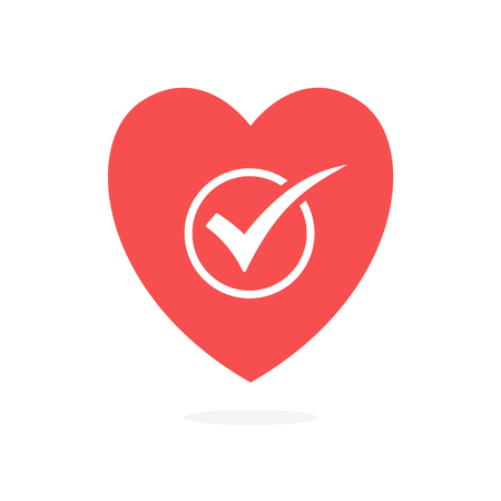 check mark in heart, vector illustration isolated