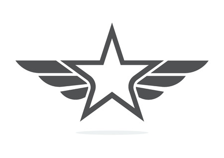 Abstract star wing logo icon design template