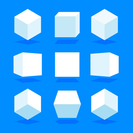 White 3D cubes pack isolated on blue background. Different light, perspective and angle. Vector illustration