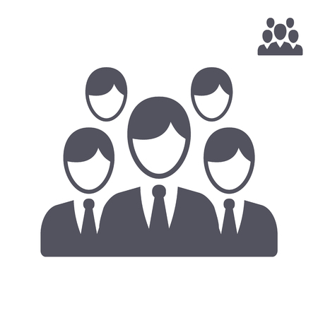 Big and small icon of people in gray color on white background isolated. Group of people ideal for business, startup, web. 矢量图像