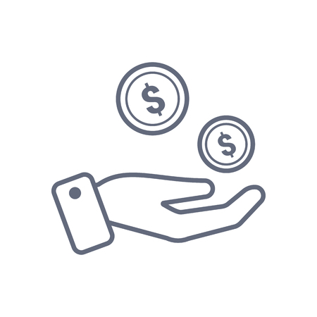 Coins in hand icon vector design template.
